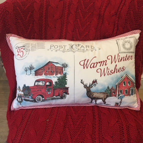 Warm Winter Wishes Feather Cushion