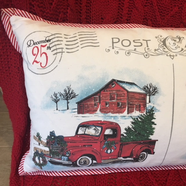 Postcard Cushion with Christmas Truck