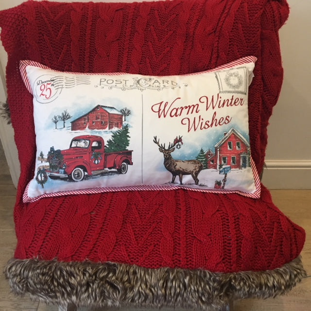 Warm Winter Wishes Christmas Truck Cushion