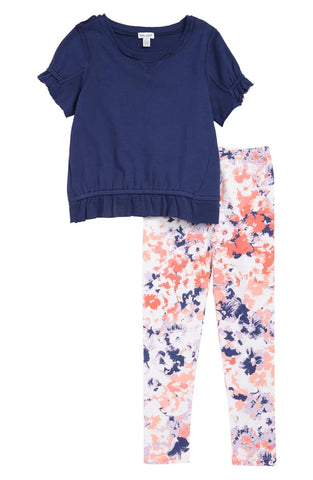 Ruffle Top and Floral Legging Set
