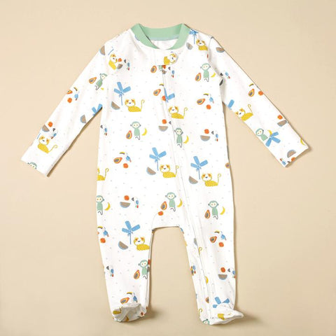 Zippper Coverall Romper- Tropical Jungle