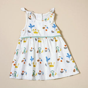 Organic Cotton Shoulder Tie Dress With Bloomer Set - Tropical Jungle