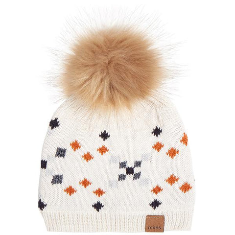 Orange Diamond Pom Hat