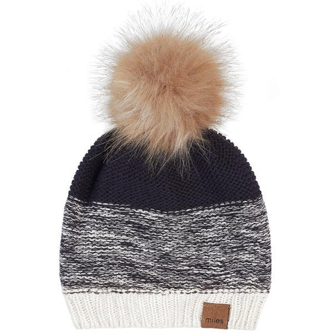 Navy to Cream Pom Hat