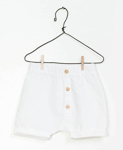 White 3-Button Front Shorts