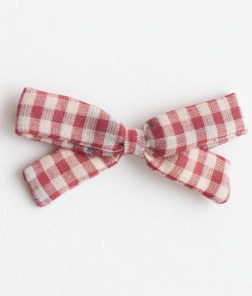 Little Bow Clip - Red Chex