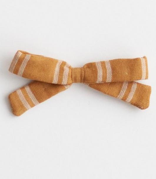 Little Bow Clip - Mustard Stripe