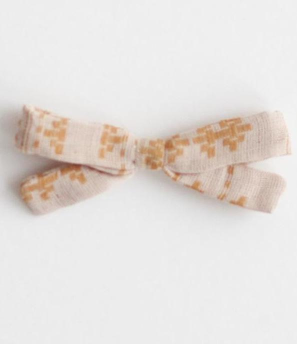 Little Bow Clip - Mustard Jacquard