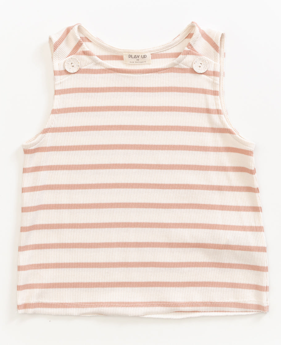 Smooth Stripe Button Tank