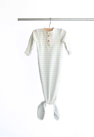 Knotted Gown - Baby Blue Stripe