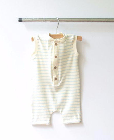 Sleeveless Romper - Baby Blue Stripe