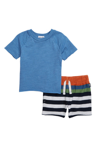 Blue Striped Short Set