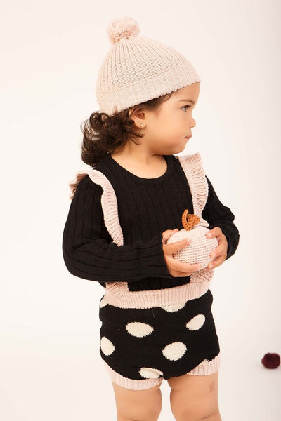 Spots Knit Bloomer Overalls