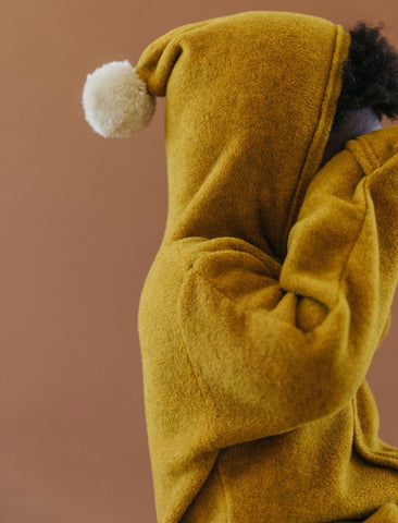 Hooded Pom Baby Suit - Mustard