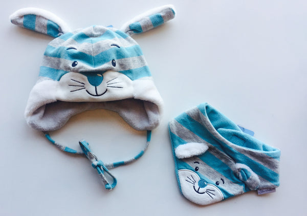 Reversible Baby Animal Bib - Blue & Gray