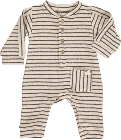 Striped Fall Romper - Charcoal