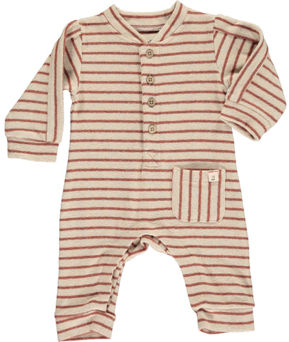 Striped Fall Romper - Brick