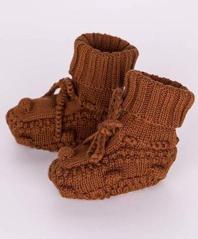 Knitted Booties - Rust