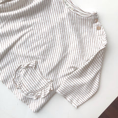 Saddle Stripe Ruffle Pocket Tee