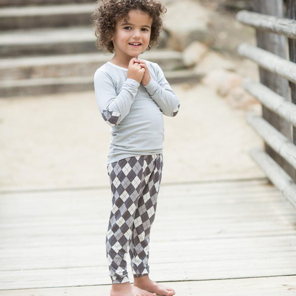 Gray Argyle Pajama Set