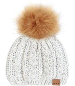 Heather Beige Pom Hat