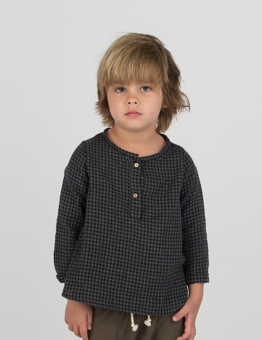 Placket Top - Black/Grey Gingham