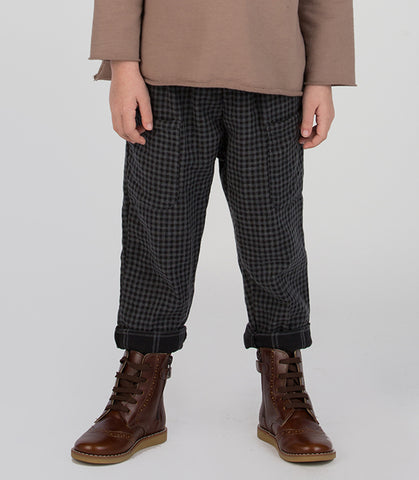 Woven Pocket Pant - Black/Grey Gingham
