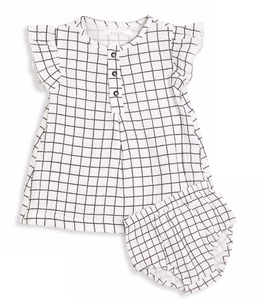 Contrast Grid Dress Set