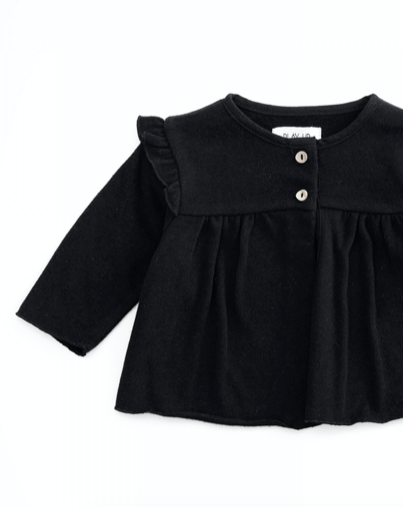 Ruffle Shoulder Button Top - Ruler