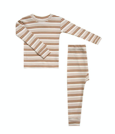 Striped Pajama Set - Oat/Cinnamon