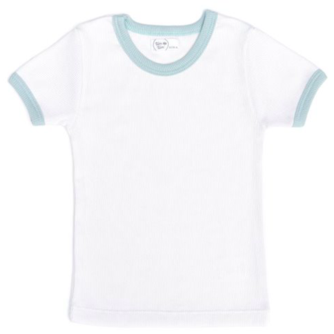 Ribbed Trim Ringer Tee - Mint