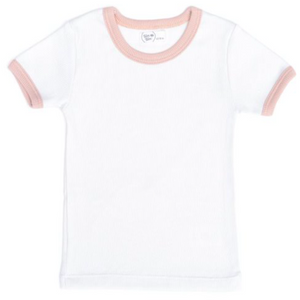 Ribbed Trim Ringer Tee - Dusty Rose
