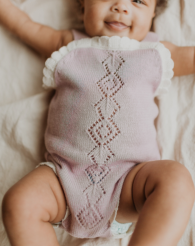 Lilac Knit Scallop Onesie