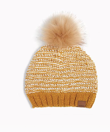 Wheat Striped Pom Hat