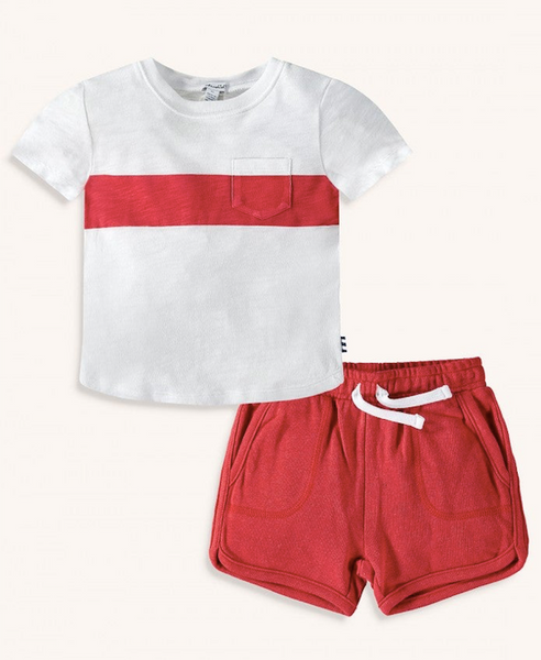 Screen Stripe Tee Set- Molten Lava