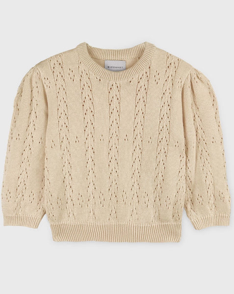 Cream Cotton OpenWork Sweater