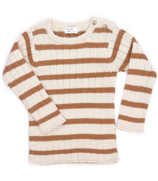 Mustard and Ivory Striped Rib Sweater