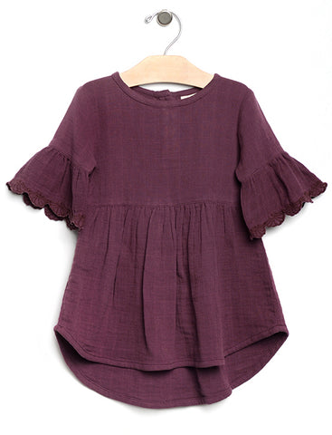 Lace Detailed Hi Lo Dress - Eggplant