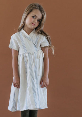 Wrap Dress - Triple Blue Stripe