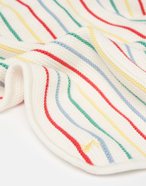 Knitted blanket- white multi stripe