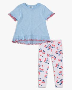 Sky Blue Cherry Print Legging Set