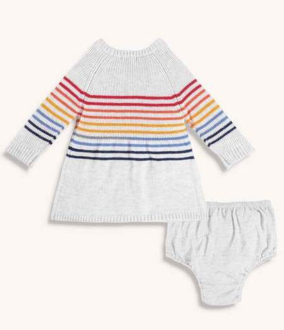 Baby Girl Rainbow Sweater Dress with Bloomers