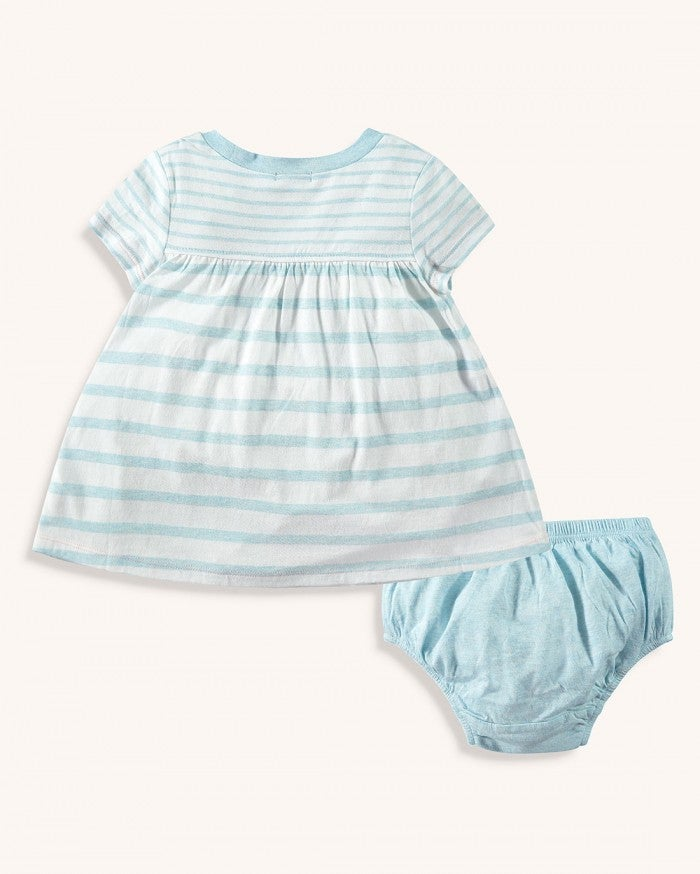 Melange Stripe Dress Set- Tropical Sky