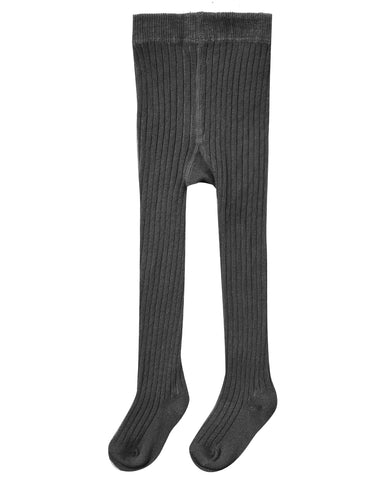 Ribbed Knit Tights - Black
