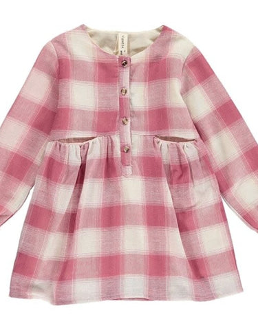 Nikki Plaid Dress - Rose