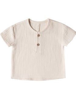 Woven Henry Top - Pebble