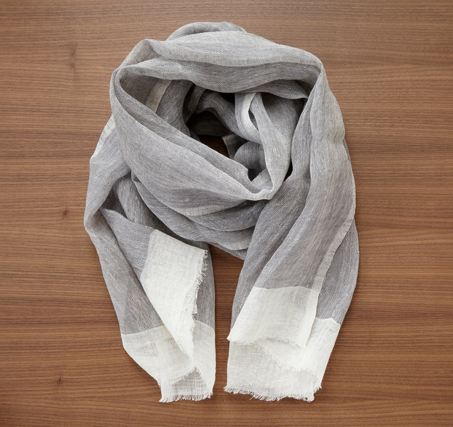 Linen Scarf - White / Gray