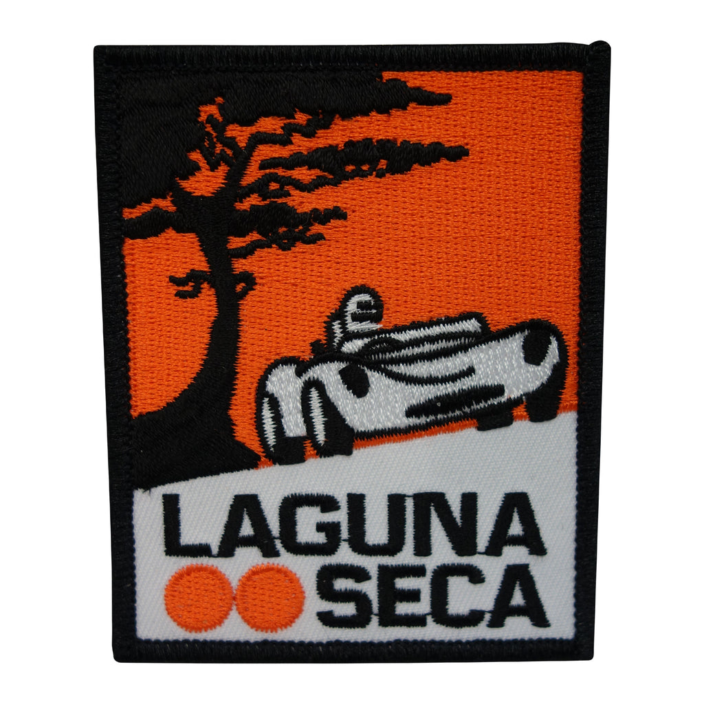 Vintage Laguna Seca Car Patch Vertical