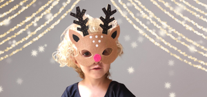 This kids Rudolph Reindeer mask is a super fun pretend play costume mask.  It is part of our  CHICKY CHICKY BLING BLING FAIRYTALE ACCESSORIES line