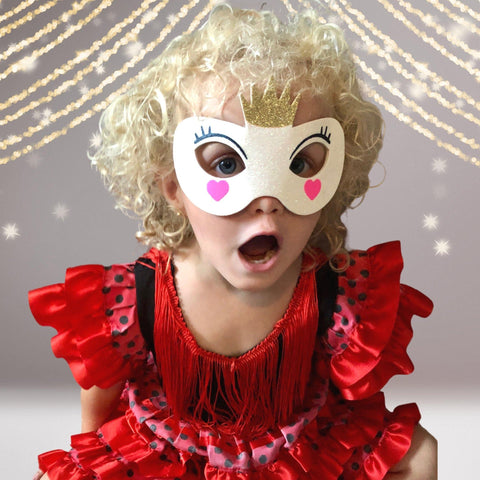 Fairy Princess Costume Face Mask, Glitter Princess Costume Mask - Chicky Chicky Bling Bling, LLC